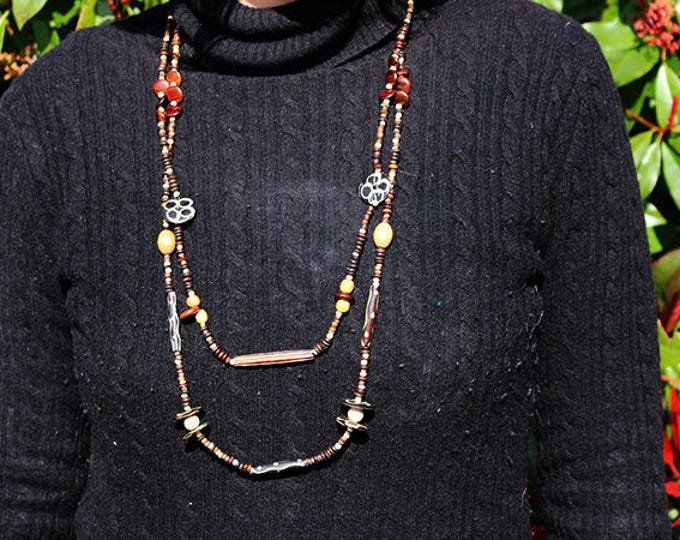 Necklace multi-row Guyana natural wood beads, beads black and white, ivory, Brown, wood gift for her