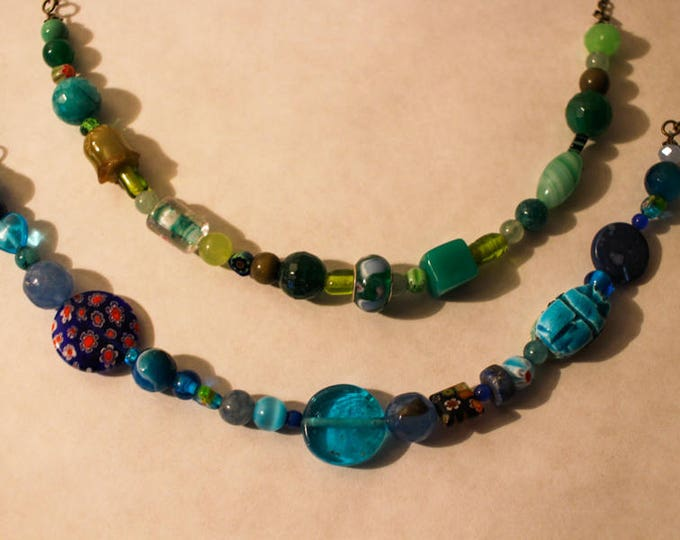 Beaded necklace with dyed agate and murano glass, ceramic beads and seed beads, chain and brass clasp, gift for her