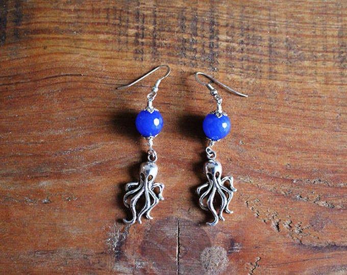 Anemone, blue earrings