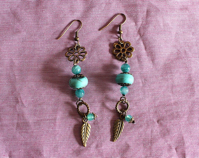 Earrings dangle Turquoise and brass, openwork flower and long leaf pendant, Bohemian jewelry, gift for her