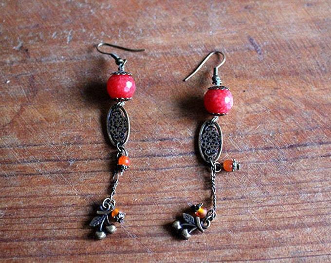 Earrings in orange agate vermilion, cherry brass charm and openwork medallion, pendant earrings, gift for her