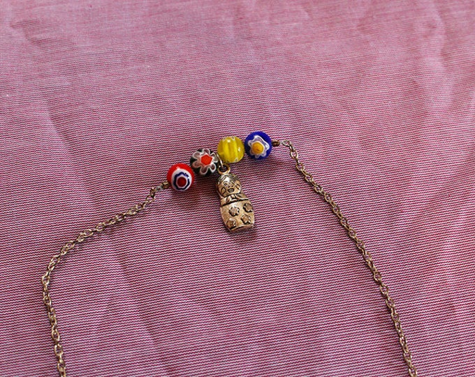 Necklace double strand Russian doll, inlaid glass beads