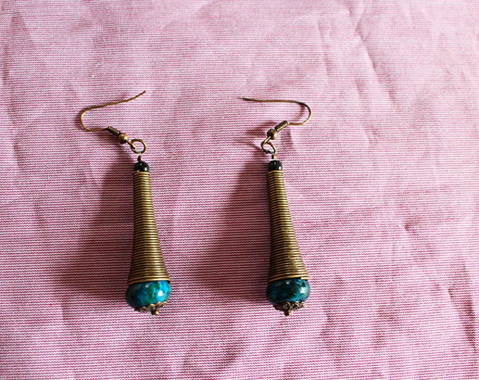 Dangling earrings, Agate and metal bead, for accordion brass, gift for her