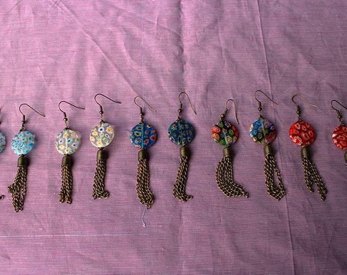 Earrings Murano glass, dangle earrings with tassel chain, murano beads, multicolored, gift for her