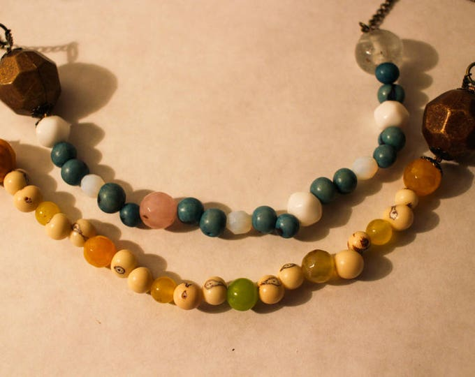 Necklace yellow agate beads and natural acai berry beads, beads ceramic and metal, chain, gift for her