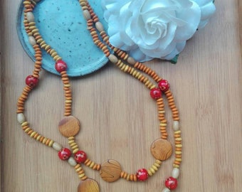 Handmade necklace /Sautoir MULTISTRAND nature and boho exotic wood yellow, orange and red beads, gift for her