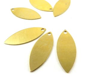 8 navette marquise sequin print shaped charm brass virgin raw 24mm x 10mm. PP-102