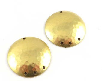 4 round hammered chandelier connector circle domed disc dome 22mm raw brass stamping. PV-160