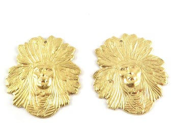 2 Indian Chief head charm 22mm x 25mm raw brass stamping. CH-082