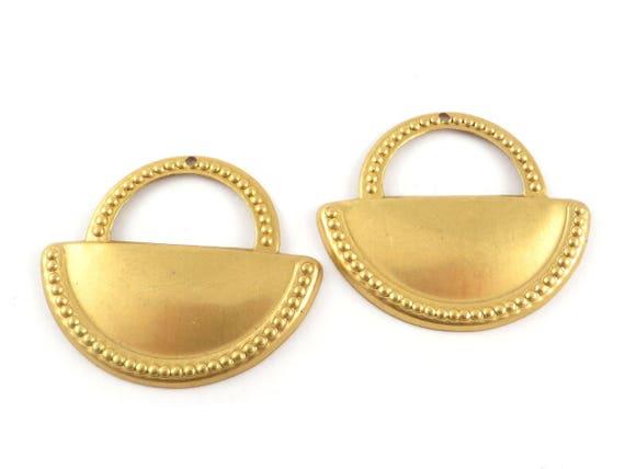 5 Holes Pendant Semi Circle Pendant Raw Brass Half Moon Pendant 32x52 mm Raw Brass Pendant SKURW4