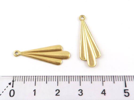brass print geometric charm brass component drop line jewelry supply golden triangle charm Trapeze drop charm