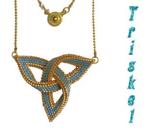 "Necklace ""Triskel"" peyote stitch with Delica - gold/blue turquoise"