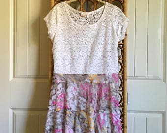 Upcycled Recycled Repurposed Lacey Tunic Dress Size M