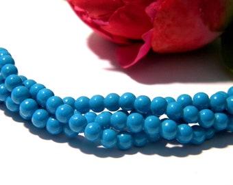 glass beads 6 mm 2 H88 50 Pcs pearl Pearl purple round glass bead brilliant bakingpaint fired glass