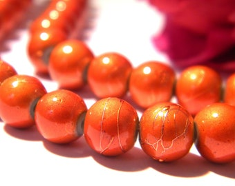 orange glass beads, glass bead 8 mm glass drawbench, 50 beads, wire, glass Pearl 2 H57