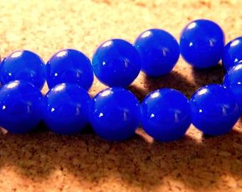 10 pearls 8 mm glass jade-blue royal PE201 11