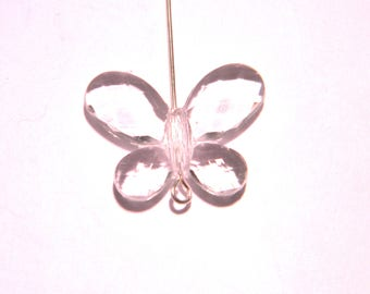 5 pearls Butterfly 24 x 18 mm-clear acrylic - F42