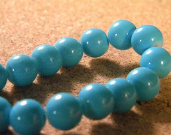 10 pearls 8 mm glass jade-turquoise-PE201-20