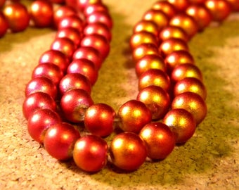 20 glass Pearl 6 mm-2 red and copper - bronze tones PE261-1