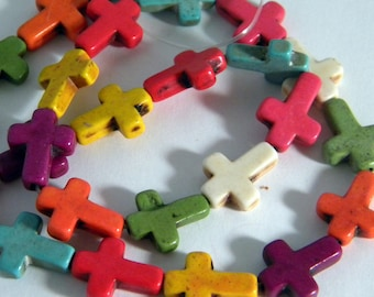 5 16 mm mixed color howlite cross beads