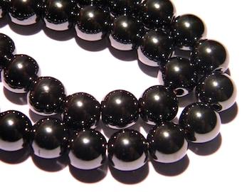 20 hematite beads 8 mm gunmetal grey - hematite - Pearl Grey dark - PG273