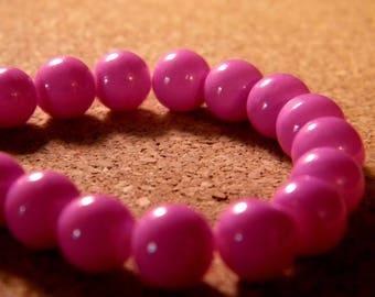 10 pearls 8 mm glass jade-fuchsia-PE201-14