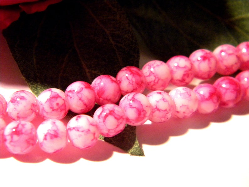 3 A105 glass bead Pearl glass beads 6 mm marbled glass 65 fuchsia glass marble