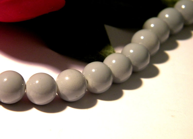 jewellery making 10mm Glass faux Pearls 40 round beads Silver Grey craft