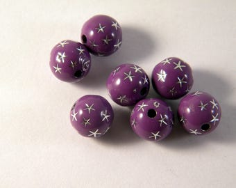 20 star 10 mm purple AB rhinestone shamballa beads