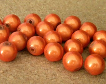 10 pearls magic - miracles - 10 mm - 3D effect - orange - PE156