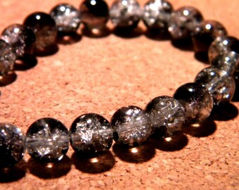 glass Crackle 8 mm - black and white - PF58 50 beads