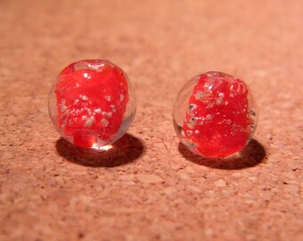 3 10 mm - phosphorescent PF5-red-hand made lampwork glass beads