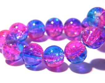 10 Crackle glass beads - 8 mm - grade AA - 2 tone blue Crackle and fuchsia PG176-1
