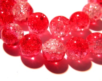 10 Crackle glass beads 12 mm translucent - red - two-tone glass bead - G113