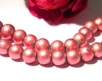 Pink glass beads, glass bead 8 mm glass drawbench, 50 beads, wire, glass Pearl 4 H57