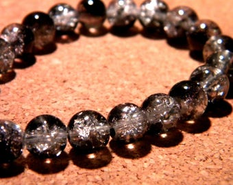 glass Crackle 8 mm - black and white - PF58 20 beads