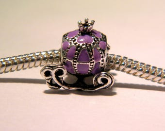 bead charm European carriage - Princess - Cinderella - style 12 mm - purple enamelled pumpkin D44 carriage pandor@-