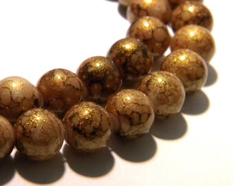 50 beads - 10 mm - lacquered glass powder glitter gold-camel - Pearl glass-K30