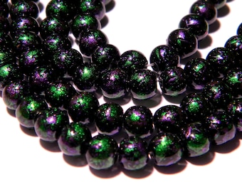 30 glass beads decorated with bright - 8 mm - Green and purple - PG100-1