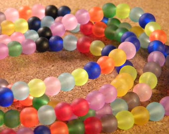 70 PE162 frosted 6 mm - mixed colors - color candy - glass beads