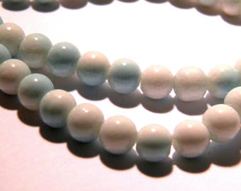 100-4 mm - 2 tones - light blue glass beads and white-glass - G57-4