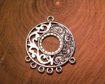 2 large pendant - oriental pattern --40 mm - silver - PG102 connector - 5