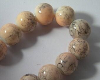 10 pearls glass trefilee 12 mm pink n ° 2