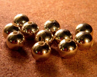 20 beads plated gold acrylic KC - 10 mm - golden light - PE88
