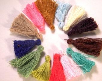 5 tassel fringe - charm - multicolored-cotton-25 to 31 mm - cotton thread tassels - multicolor AC25