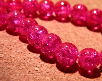 glass Crackle 8 mm - dark fuchsia - PF57 50 beads