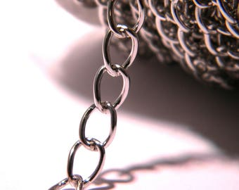 1 M large chain links 8 x 6 mm - silver - NF21