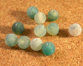 Blue frosted cracked agate 6 mm AG60 10 beads