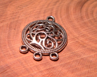 10 stamp pendant connector - oriental pattern - floral - 26.5 mm-silver - PG15