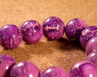 "10 pearls glass 12 mm-purple - PE177 ""reality"""
